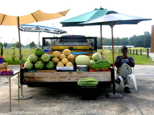 Watermelons by the road side in eastern North Carolina