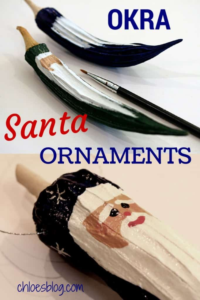 Handmade Christmas Santa ornaments from dried Okra make fabulous gifts. They are great DIY projects with the family and cost very little to make. These precious Santas keep for years. | http://chloesblog.bigmill.com/okra-santa-ornaments-from-the-garden-at-big-mill/