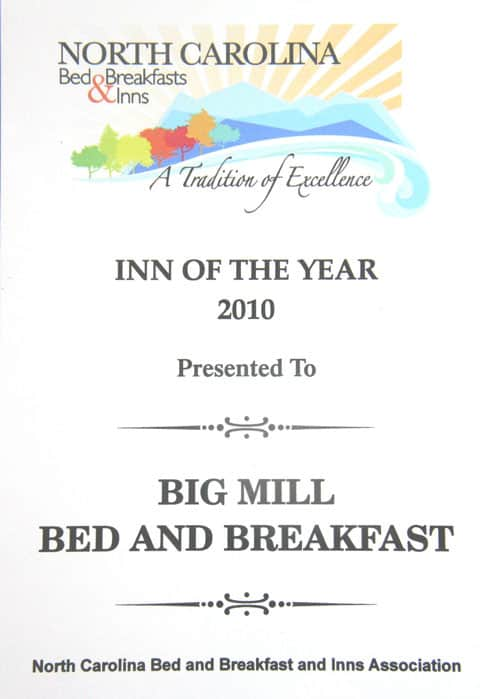 Eastern North Carolina Bed and Breakfast named Inn of the Year by NC Bed and Breakfast & Inns