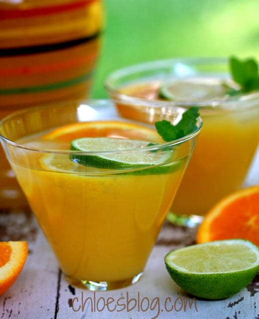 Easy citrus punch recipe from innkeeper at Big Mill B&B in eastern NC - great for parties
