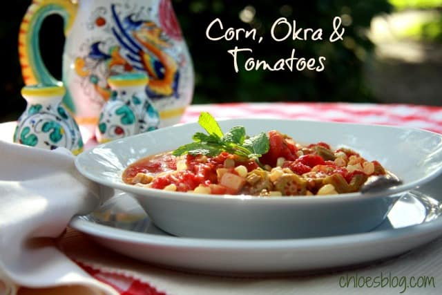 You'll love this Okra, Corn and Tomatoes recipe from North Carolina innkeeper. It is the perfect southern dish to use all those great vegetables. | http://chloesblog.bigmill.com/innkeeper-recipe-with-okra-corn-tomatoes/