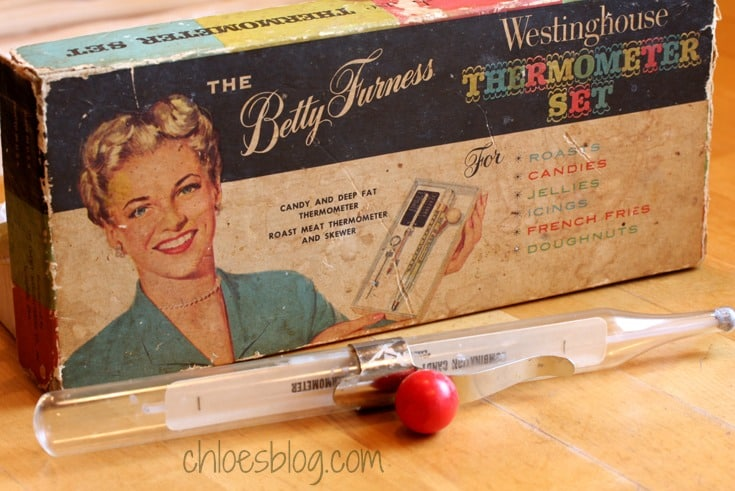 Vintage kitchen essentials: Old Candy Thermometer from Big Mill Bed and Breakfast | http://chloesblog.bigmill.com/pull-candy-recipe/