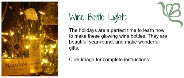 So romantic AND festive! Now is the perfect time to make wine bottle lights for holiday decorating. Find complete instructions on the Big Mill Bed and Breakfast innkeeper's blog. |  chloesblog.bigmill.com/light-up-with-wine-bottles/