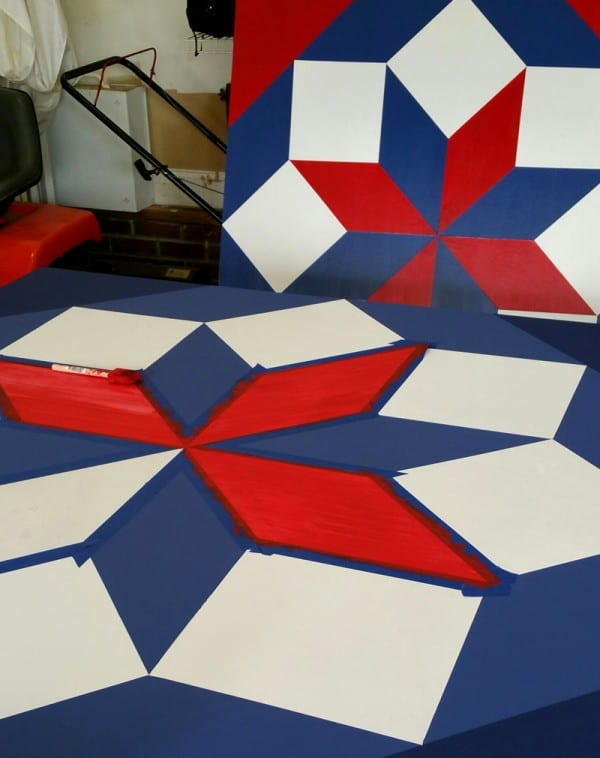 Take a behind-the-scenes peek as Big Mill Bed and Breakfast prepares their Barn Quilt block which will be placed on the Pack House Barn of the B&B near Greenville, NC. | @bigmill www.chloesblog.bigmill.com/big-mill-bed-breakfast-barn-quilt-williamston-nc